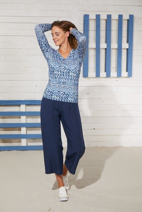 Blue iV outfit blauw linnen broek print tricot pull